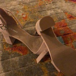 Suede nude heels